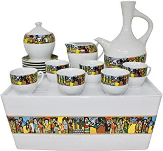 In the morning, during the afternoon rest, and in the evening. Ethiopian/Eritrean Traditional Coffee Set. Sábá Edition. Full Set.: Amazon.ca: Home & Kitchen