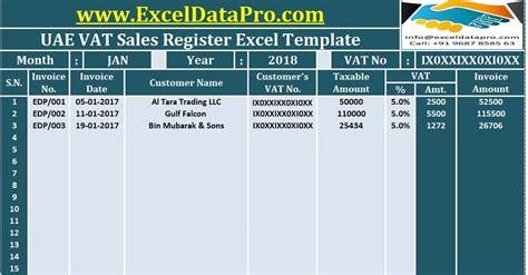 uae vat sales register excel template exceldatapro