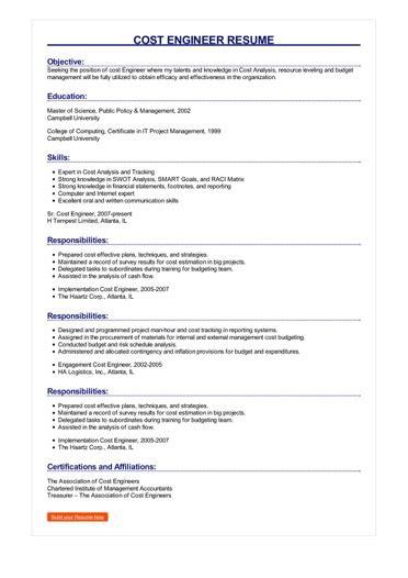 sample cost engineer resume