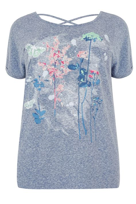 floral cross forms blue marl floral butterfly print t shirt with cross over