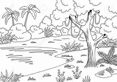 Jungle Sketch Clipart Lake Landscape Forest Illustrazione