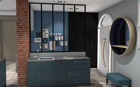 sejour cuisine cuisine ouverte avec verrière et mur brique sur séjour