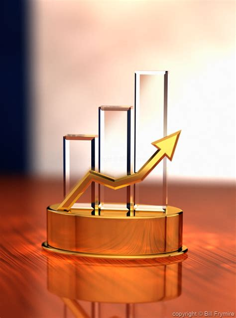 3d trophy with bar chart and rising line graph