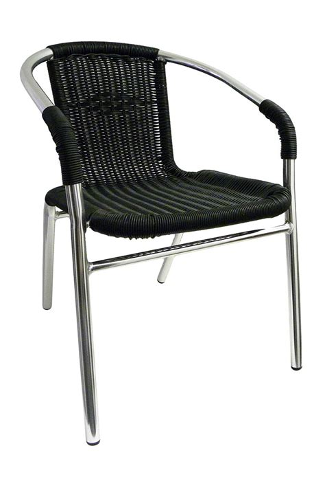 commercial aluminum black wicker dining chair