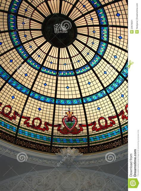 Stained Glass Ceiling With Plaster Moulding Stock Image