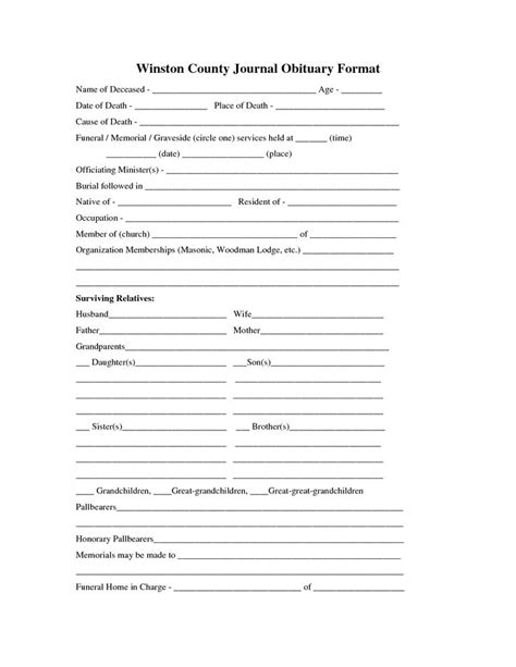 printable obituary template fill   blank obituary