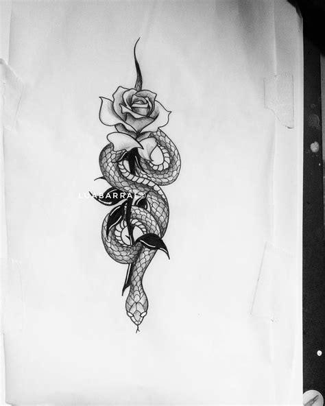 cobra serpente rosa flor tatuagem tattoo tattoo patterns