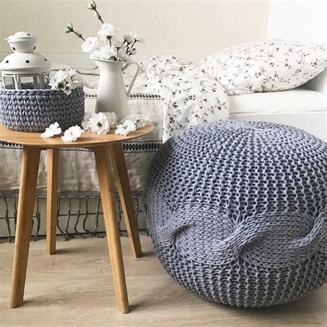 Large Pouf Ottoman by Grey Large Pouf Knitted Pouf And Ottoman Crochet Pouf Etsy