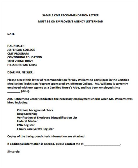 employer recommendation letter sample  examples