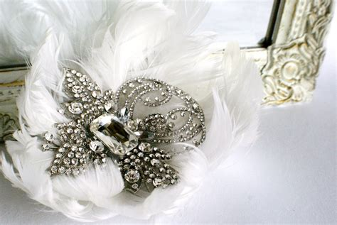 Wedding Accessories For Bride : Bejeweled Bride Wedding Accessories Feather Hair Comb