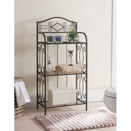 Metal Etagere Bathroom by Pilaster Designs Sileas Pewter Metal Transitional Etagere
