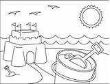Coloring Beach Pages Sandcastle Scenes Activities sketch template