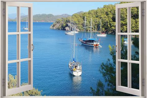 3d Window Ocean View Blue Sea Home Decor Wall Sticker: Huge 3D Window View Exotic Ocean Beach Wall Sticker Film