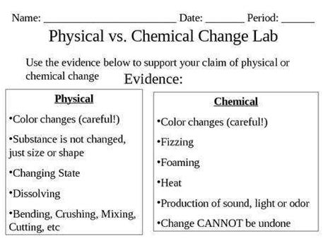 physical and chemical change worksheet
