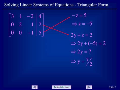 triangular form ppt solving linear systems of equations triangular