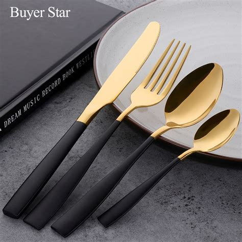 cutlery gold stainless steel cutleries flatware knife fork food tableware pcs 24pcs western turkish sets kitchen betterhomes