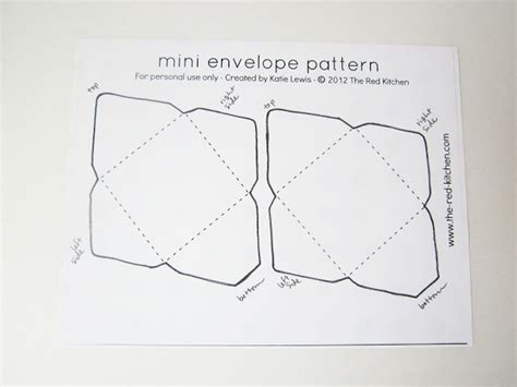 The Kitchen Diy Mini Envelopes Free Printable Pattern Tutorial