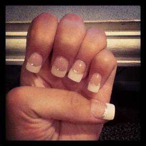 White French acrylic nails, silver line | Beauty ...
