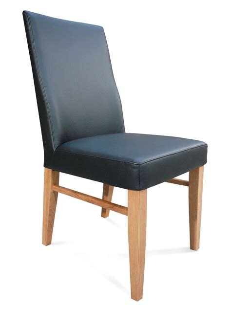 the contour mid back grain leather dining chair black