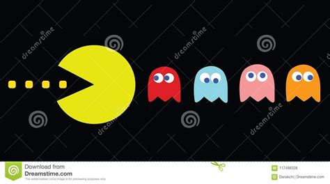 Pac Man Game Theme Retro Game Characters Editorial Stock