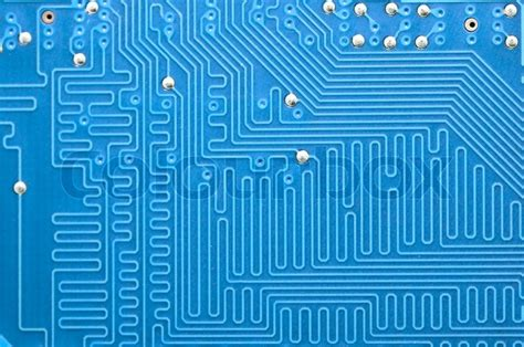 Blue Circuit Board Without Components Stock Photo