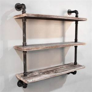 3 Level Rustic Industrial Timber & Pipe Shelf 92cm Buy