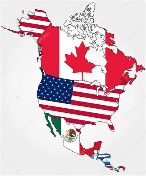 Vector: america flags   mapa de América del norte con ...