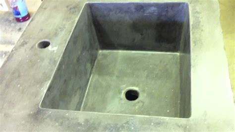 concrete countertop integral rectangle sink mold youtube