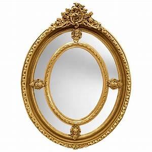 Miroir Baroque Doré : grand miroir baroque ovale dor de style louis xvi ~ Teatrodelosmanantiales.com Idées de Décoration