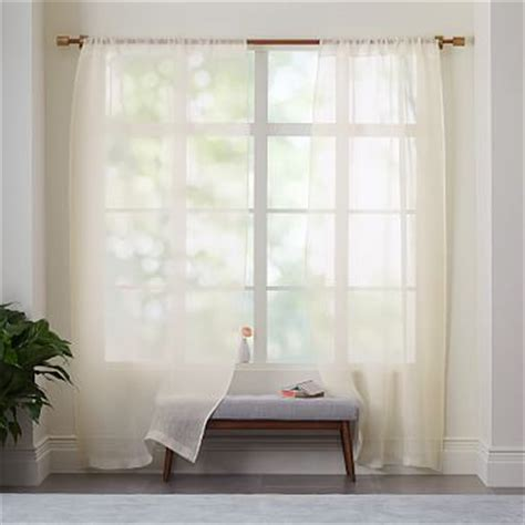 sheer linen curtain ivory west elm