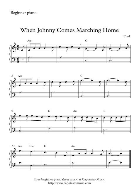When you look at sheet music, the top staff shows you what notes are played with the right hand and the bottom staff shows you what should be played with the left hand. Free easy beginners piano sheet music - When Johnny Comes Marching Home