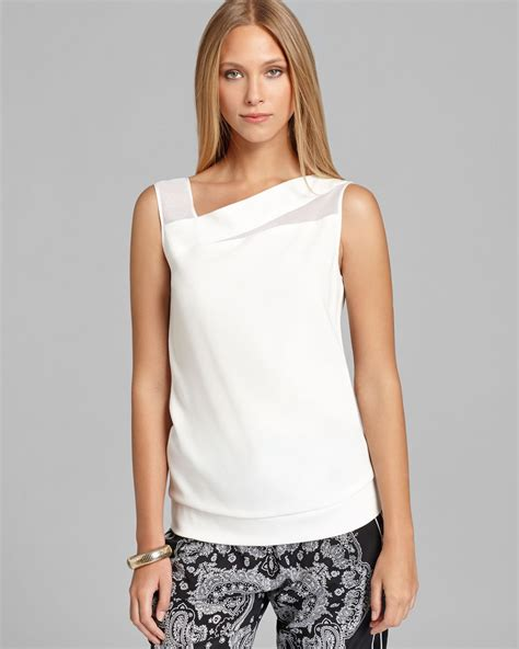 mesh blouse dkny sleeveless blouse with stretch mesh insets in white