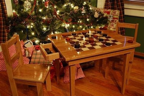 handmade checker board table and chairs by larue