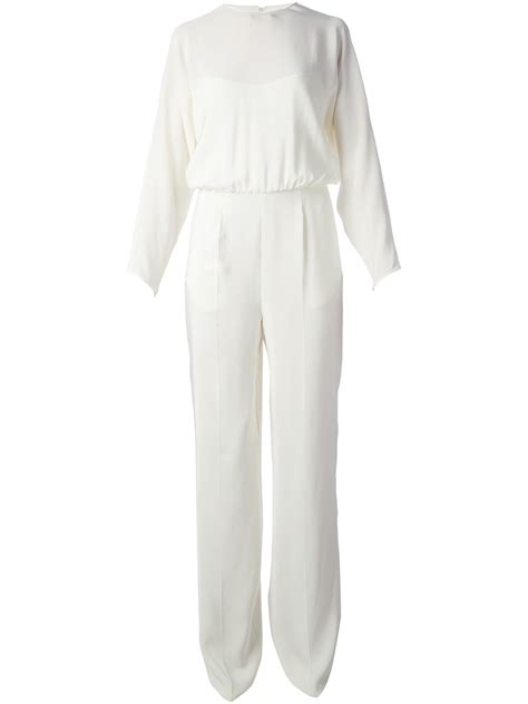 white sleeve jumpsuit valentino sleeve jumpsuit in white lyst