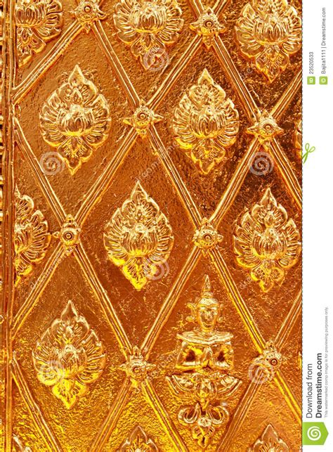 golden thai pattern design  temple wall stock image
