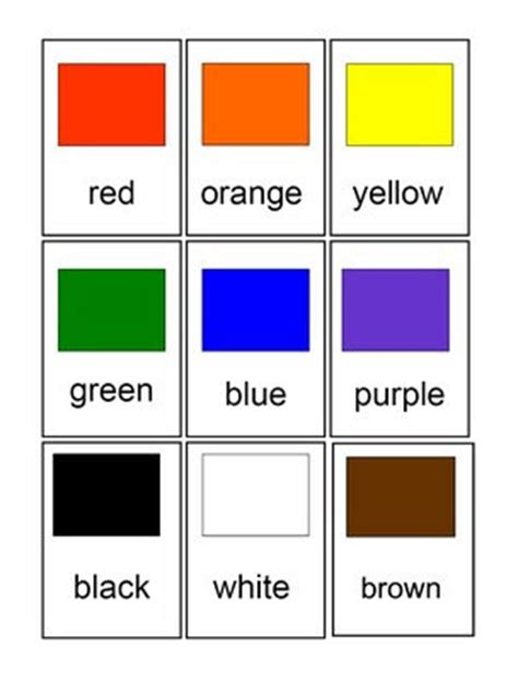 cards for color chips for preschool and primary children 807 | flashcards colors