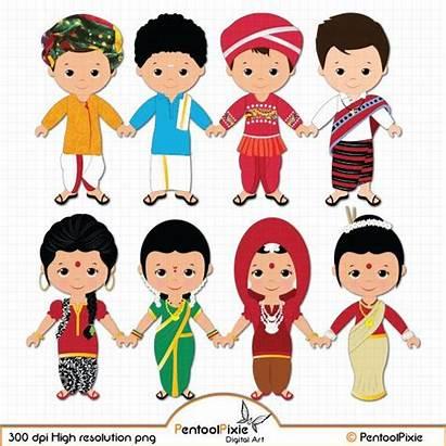 Clipart Children Ethnic Unity India Asian Clip