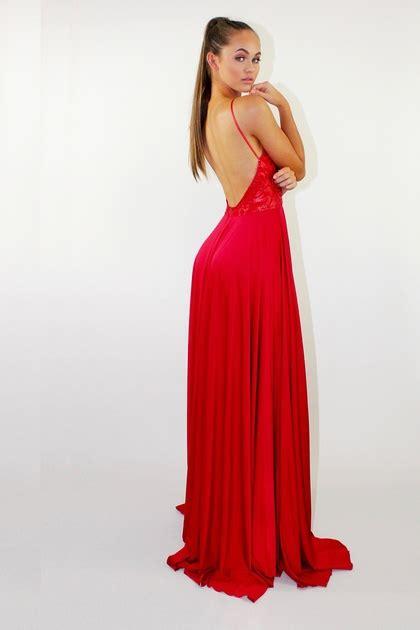 rode jurk met split