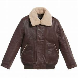 Hackett London - Boys Brown Leather Jacket | Childrensalon