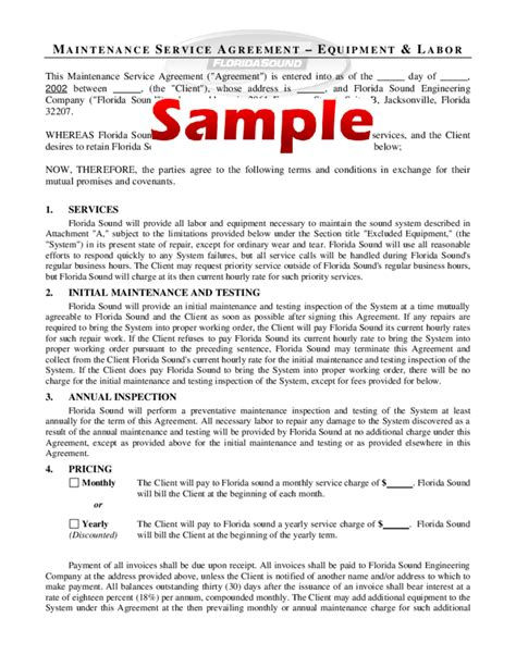Engineering Services Contract Template by Maintenance Service Agreement Form Sle Free