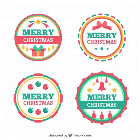 colourful round merry christmas labels vector free download