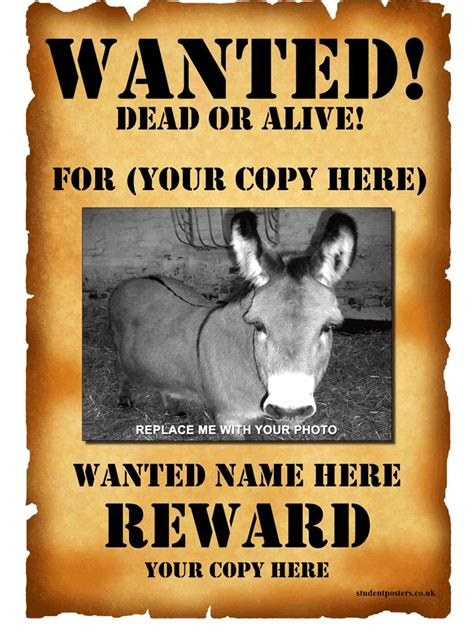 wanted poster template  positively printable wanted