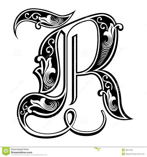 abc design zubehã r garnished style font letter r royalty free stock images image 38517929