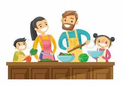 Cooking Parents Together Cartoon Son Fun Having