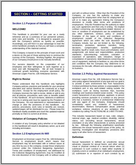 Restaurant Employee Handbook Template Free Download
