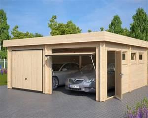 Garage Aus Holz : moderne doppelgarage aus holz mit schwingtor modell f 44mm 6 x 6 m hansagarten24 ~ Frokenaadalensverden.com Haus und Dekorationen