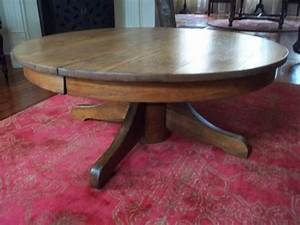 antique tiger oak round pedestal coffee table 42 With round pedestal coffee table antique