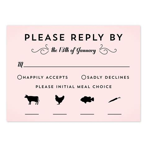classic penmanship response cards wedding wording