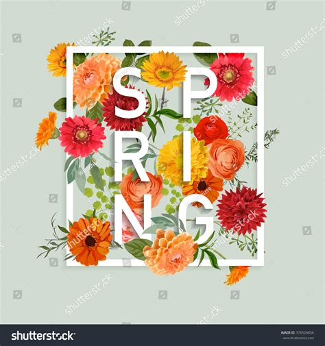 floral spring graphic design colorful flowers stock vector