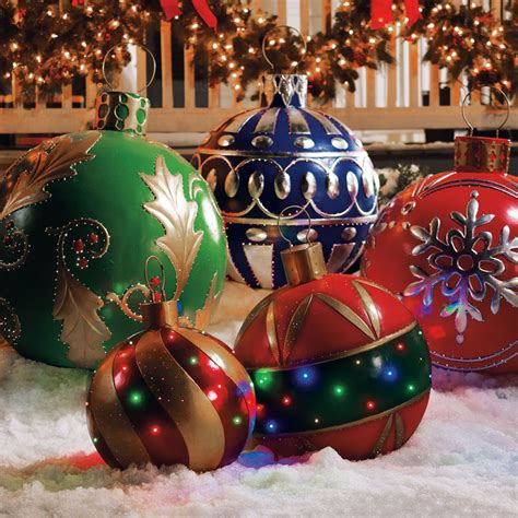 outdoor lighted tree ornaments giant outdoor lighted ornaments the green head